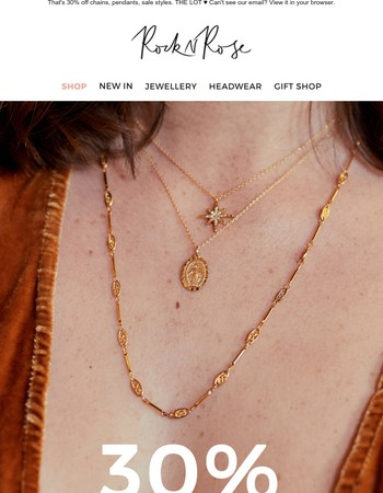 30% off necklaces. 24 hrs only.