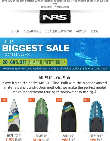 All NRS SUPs: On Sale Now »