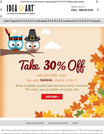 Gobble up big savings. 30% off stationery this week only.