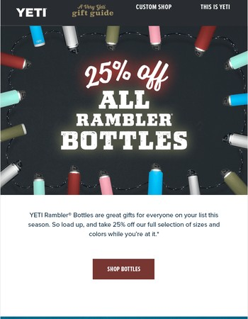 25% Off Bottles | All Sizes and Colors