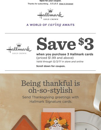 We're thankful for $3 off stylish cards