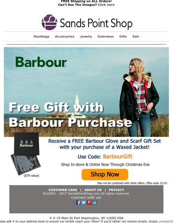 Treat Yourself! Enjoy a FREE Gift With Barbour Purchase!