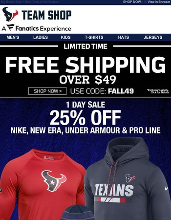 1 DAY ONLY | 25% OFF Nike, Under Armour, New Era (and Ships FREE)