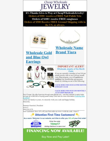 ThanksGive-A-Way Starts Now at CheapWholesaleJewelry.com