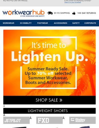 ☀It's Time to Lighten Up! 70% Off Selected Summer Workwear and Boots.