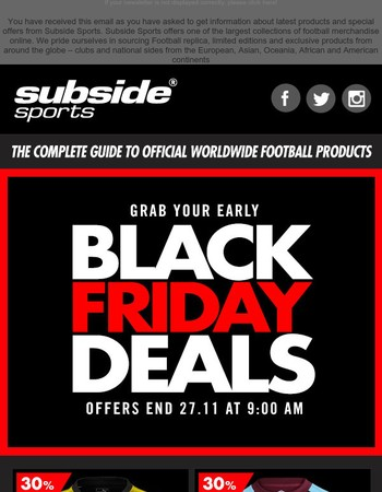 Subside Sports - early Black Friday weekend Sale Offers - Dortmund Away & West Ham home shirts - 30% off | new Sweden Home with official printing