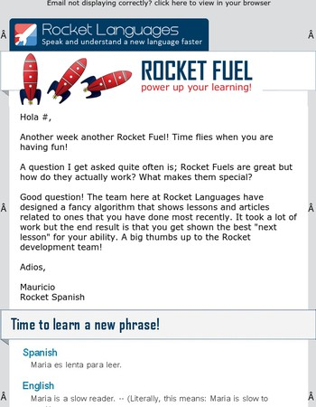 Hola Mary, how does Rocket Fuel help your Spanish?