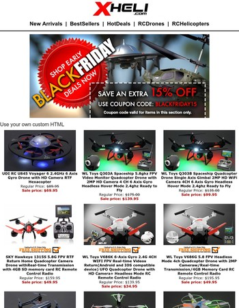 Get Extra 15% Off Now + Lowest Prices on RC Drones & Helis
