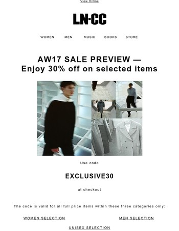 AW17 EXCLUSIVE SALE PREVIEW: 30% off - Last 24 hours