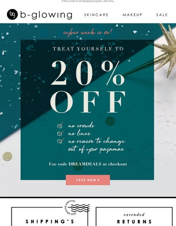 No lines - just 20% off orders $50+