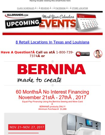 Bernina 5 Year 0% Financing Through Monday, Best Deals of the Year Start Today! $200 Off $1000 Coupon