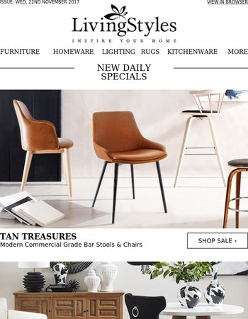 New Arrival Modern Commercial Grade Bar Stools & Chairs, Enchanting Furnishings, Decorative Jars & Rugs, French Inspired Timber Dining Furniture