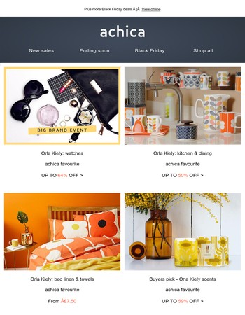 The Orla Kiely edit | Dr Botanicals |  Dartington crystal glassware | Birlea bedroom furniture | Busy B stationery