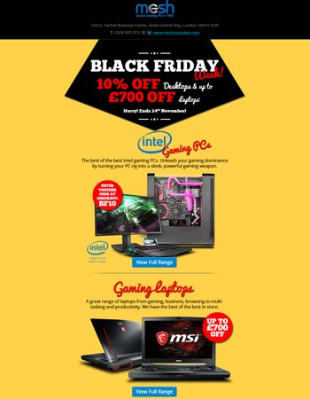 Get 10% Off Our Intel Desktops and Up To £700 Off Laptops!
