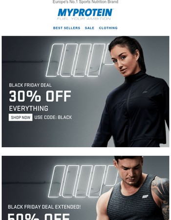 50% off clothing, aminos...