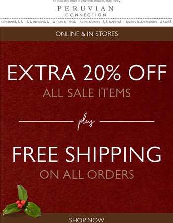 The Savings Start Now! Extra 20% off Sale Items