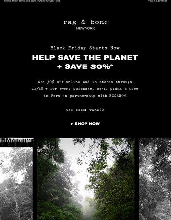 Help save the planet + save 30%