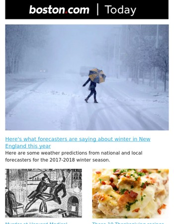 Here's what forecasters are saying about winter in New England this year