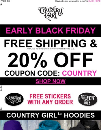Early Black Friday, FREE Shipping + 20% OFF