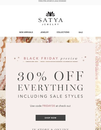 Black Friday Preview SALE! 30% Off Everything!