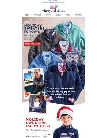 NEW: Holiday sweaters for guys & little guys!