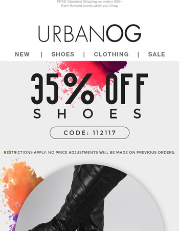 35% OFF SHOES ENDS TONIGHT!