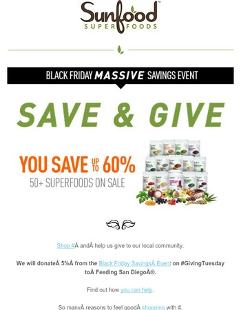 Help Us Give & Save Up To 60% Off
