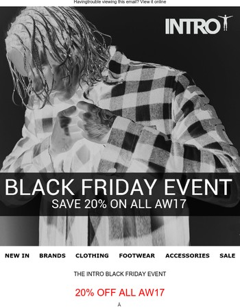 SAVE 20% ON ALL AW17