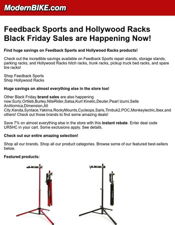 Feedback Sports and Hollywood Racks Black Friday Sales are Happening Now!