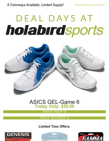 Today's Deal, ASICS GEL-Game 6 Only $55.00!