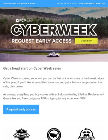 Cyber Week Early Access Invite