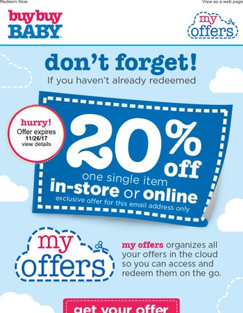 Don't forget! Your 20% offer is waiting!