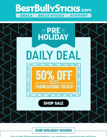 1 Day Deal: 50% Off Select Thanksgiving Treats