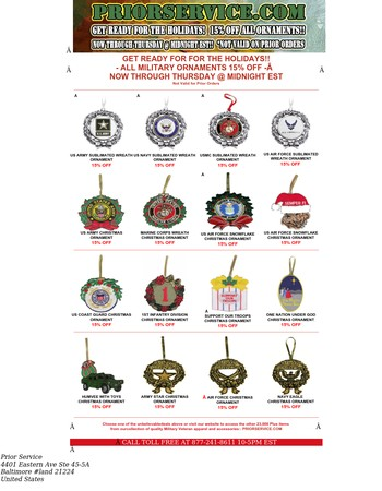 15% Off All Military Ornaments - Get Ready for the Holiday Season!! Shop Now Through Thursday @ Midnight EST!!