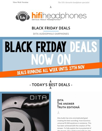 Black Friday Deals DAY 3 - Dita Earphone Offers