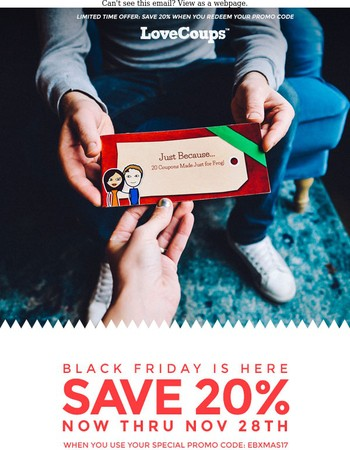 Get a head start on Christmas gifts and save 20%
