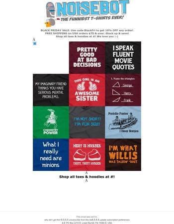 New T-Shirt Sale at NoiseBot.com
