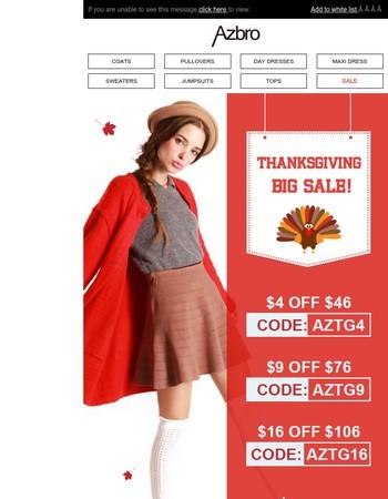 Bonus! Up to 50% Off-Azbro Thanksgiving Sale!