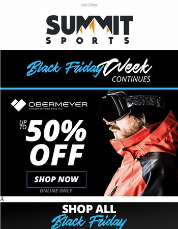 Black Friday Week Continues: Up To 50% OFF Obermeyer