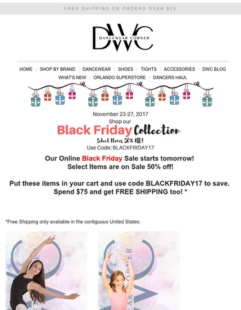 This Black Friday - Cyber Monday Sale at Dancewear Corner is just plain crazy!