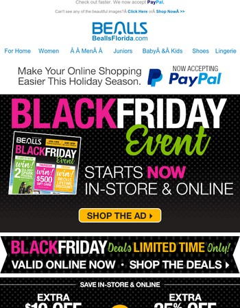 Black Friday Deals In-store & Online Now! Extra 25% off or $10 off $25