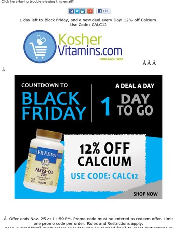 Black Friday Preview - 12% off Calcium -  TODAY ONLY!