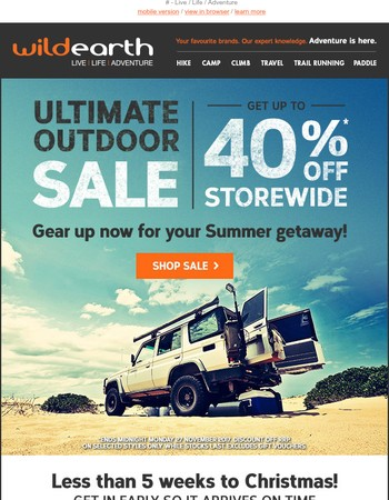 Ultimate Outdoor Sale >Up to 40% off > Shop Now