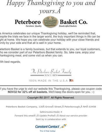Happy Thanksgiving from the Peterboro Basket Family