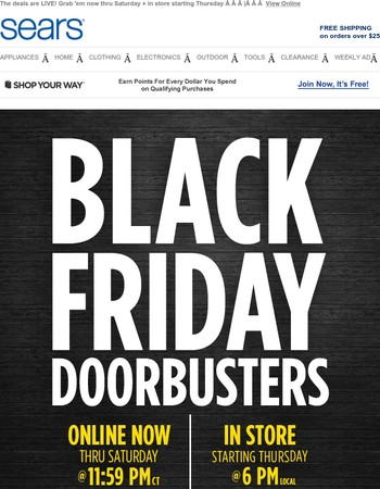 MAJOR ANNOUNCEMENT: Black Friday Doorbusters are ONLINE NOW!