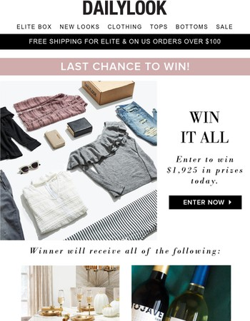 Last Chance To Win $1900 Worth of Gifts!