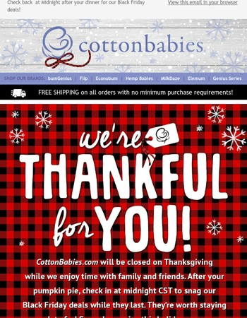 We just wanted to say... We're thankful for you!