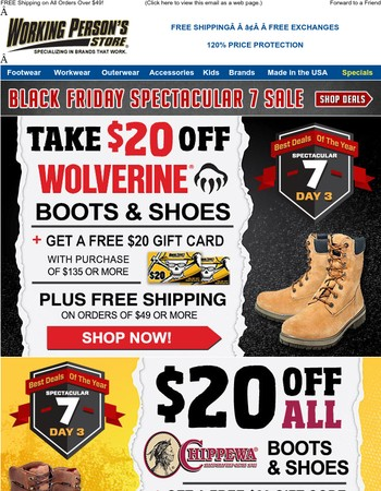 Black Friday! $20 Off Wolverine, Danner Chippewa + FREE $20 Gift Cards + FREE Shipping!