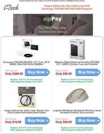 Targus Defcon KL Key Cable Lock $19! Samsung 1TB SSD 850 EVO $389 Shipped!