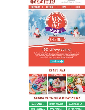Great news! Save 10% on everything at Stocking Fillers